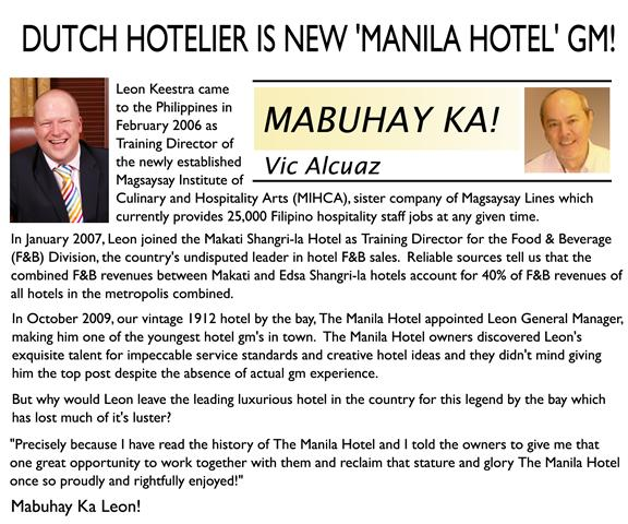Dutch Hotelier is New 'Manila Hotel' GM!
