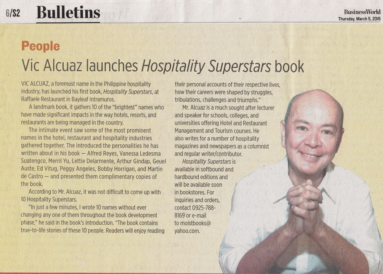 Vic Alcuaz launches Hospitality Superstars book