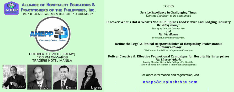 Vic Alcuaz invited as speaker by The Alliance of Hospitality Educators and Practitioners of the Philippines (AHEPP)